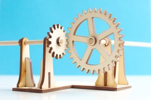 Turning right angle gears made from plywood