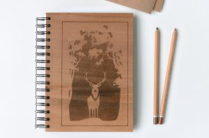 Wooden notebook with engraving made from cherry plywood
