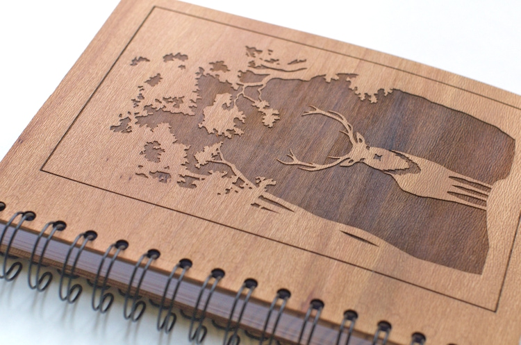 Detail of engraved wooden journal