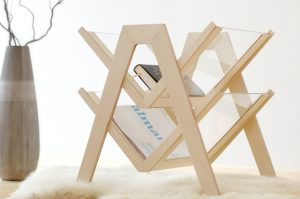 Magazine rack made with a laser cutter from birch plywood