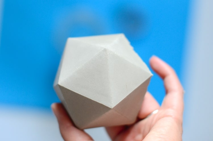 Backside of the icosahedron shaped geometric concrete planter