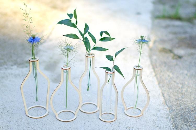 Laser cut wooden silhouette test tube vases