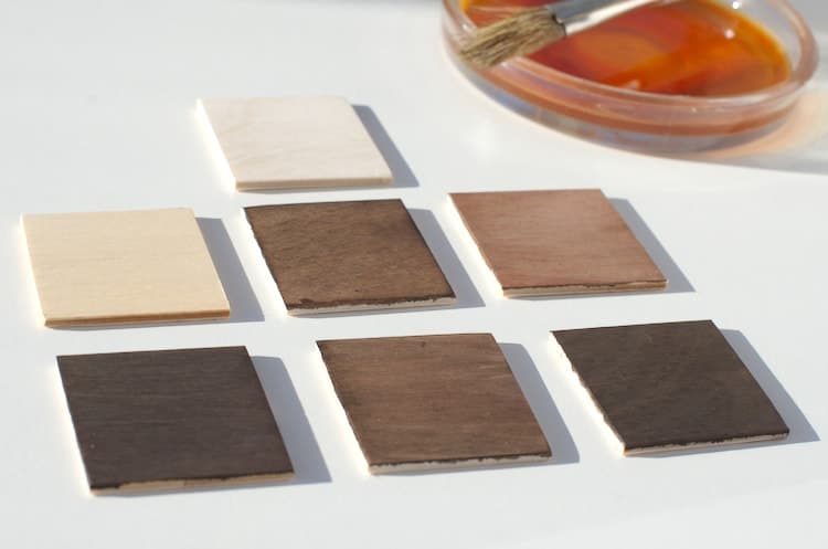 The wooden test swatches after the first step of the ebonizing experiment.