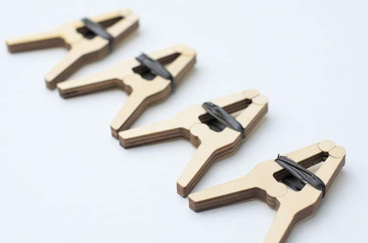 Set of four DIY wooden clamps