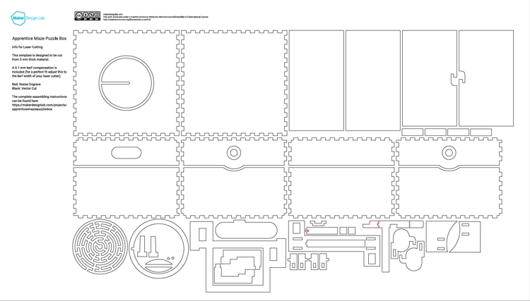 SVG/PDF template for laser cutting containing all the parts for the puzzle box
