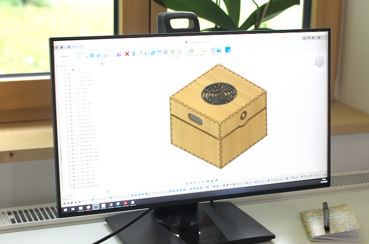 Screen with the Fusion 360 design of the puzzle box