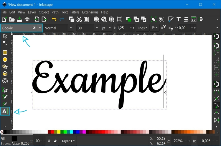 How to enter text in Inkscape using the Text Tool.