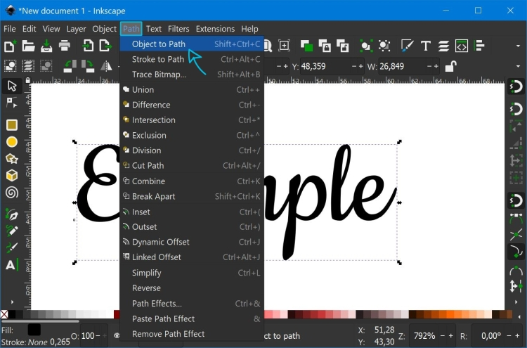 How to turn text into a path in Inkscape