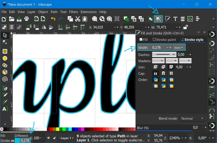 Ungrouping the text into individual letters and adding a stroke