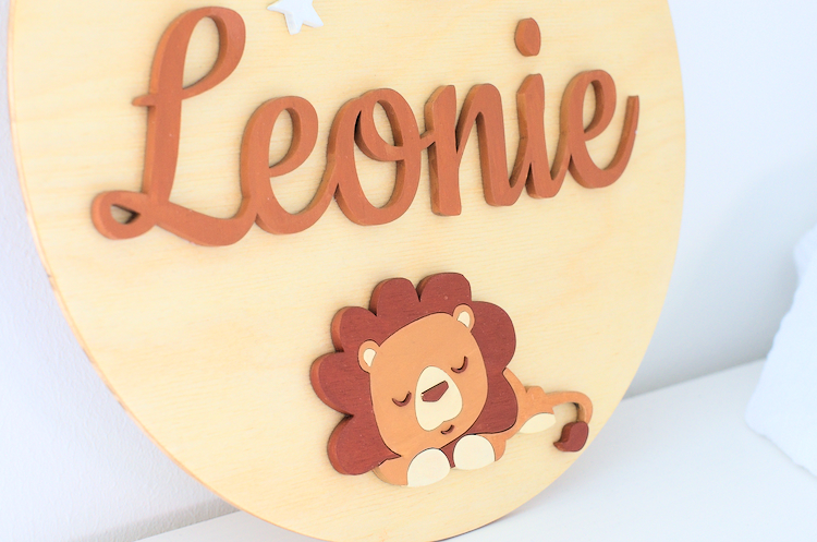Detail of the laser cut lion on the name sign